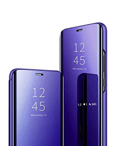 Jacyren Funda compatible con Galaxy S21 Plus, funda de piel con tapa y efecto espejo para Galaxy S30+, carcasa de policarbonato translúcido, visión miroir, antigolpes, función atril S30 Plus