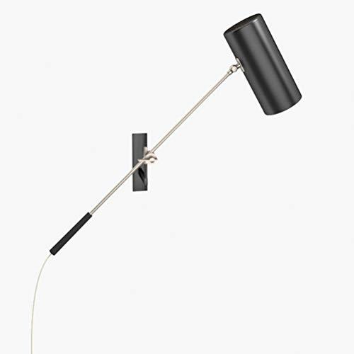 CLOVEML Lámpara de Pared Vintage de Brazo Largo Ajustable para Interior con Interruptor, lámpara de Lectura de lámpara de Pared de cabecera, con Cable y Enchufe de 1,8 m, Pantalla de Metal Ajustable,