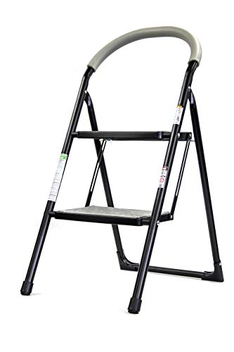 Brookstone BKH1320 2Step Folding Ladder with Soft Grip Easy to Carry Around The House Extra Wide Holds up to 330 Pounds NonSlip Textured Platform Black/Gray