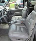 Chevy Suburban, Tahoe and GMC Yukon Captain Chairs Seat Covers in Silver Leatherette with Electric Drivers Side and Electric Lumber Control on Passenger Side