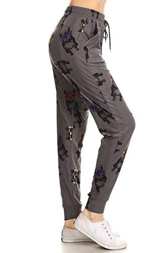 Leggings Depot JGA-R718-S Hispter Frenchie Print Jogger Pants w/Pockets, Small