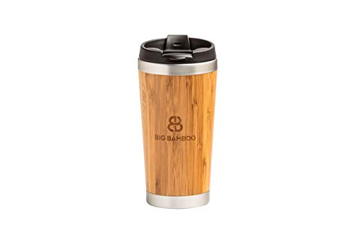 Big Bamboo Cool High Quality 450ml Double Wall Reusable Bamboo Travel Mug (Eco) - Car Mug - For Tea and Coffee - Cold drinks - with Leak-Proof Black Plastic Flip Top Lid. (Kitchen & Home)