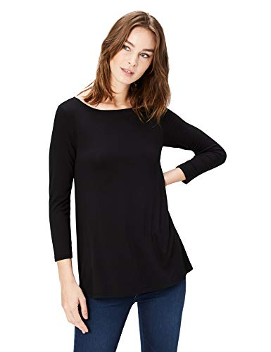 Marca Amazon - Daily Ritual Jersey 3/4-Sleeve Bateau-Neck Swing T-Shirt Camiseta, Negro, L