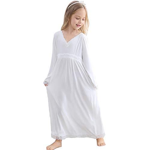 Flwydran Nachthemden für Mädchen Spitze Nachthemd,Baumwolle Modal Vintage Viktorianisches Stil - Alter 3-12