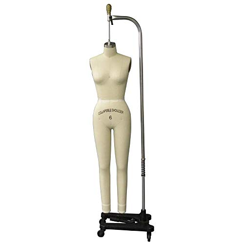 Professional Female Full Body Women's Dress Form with Collapsible Shoulders and Adjustable Base and Arm (#FULLSIZE6)