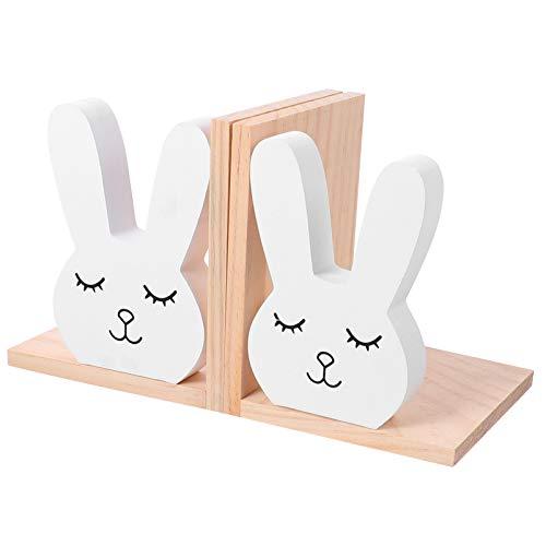 TOYANDONA 1 Paar Buchstützen aus Holz Buchstützen Buchstopper Niedliche Kaninchen Kinder Buchstützen für Buchliebhaber