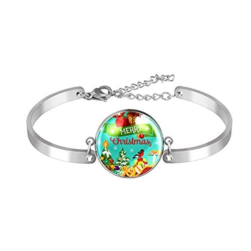 Pulsera, brazalete de acero inoxidable brazalete de regalo de joyería puño pulido estilo de caja de regalo de moda Bola de copo de nieve del árbol de Navidad para hombres mujeres