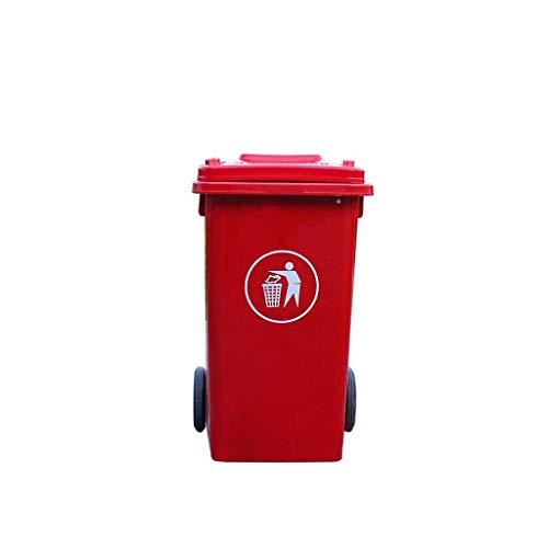 Bote de Basura Cubierto al Aire Libre 100L, contenedor de Almacenamiento de Basura con Ruedas de plástico, Basura de Multicolores 48 Veces; 53 cm (Color: Rojo) kshu (Color : Red)