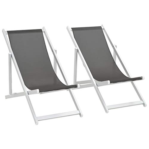 Festnight Klappbar Strandstuhl 2 STK. | Gartenliege mit lehne | Alu Liegestuhl | Sonnenliege | Relaxliege | Grau Textilene mit Aluminiumrahmen 110 x 57 x 83 cm