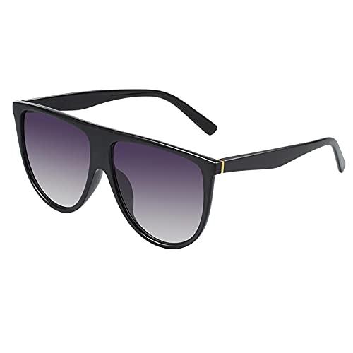Gafas De Sol Gafas De Sol para Mujer Gafas De Sol Mujer Retro Visera Superior Plana Piloto Cuadrado Big Black Shadow C1