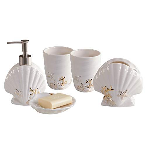 YHYH dispensador de jabón Juegos De Accesorios De Baño, Accesorios De Baño 5/6 Piezas Completo Set De Baño Encimera Juego De Accesorios Regalo de Cocina (Color : White, tamaño : 5-Pieces)