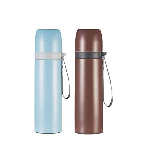 Thermobeker GJDBBLY Metalen thermoskan Duurzame roestvrijstalen thermische fles Geïsoleerde draagbare koffiethermosfles Waterfles 500 ml blauw