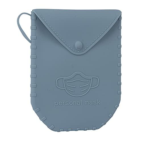 APLI - 18832 - Porta mascarillas de silicona con cierre de botón color GRIS AZULADO-Portamascarilla con asa- Ideal para mascarillas quirúrgicas