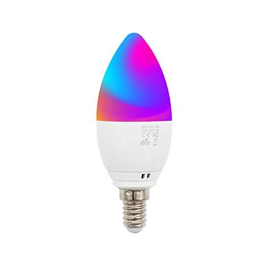 ZWD Lampadina Intelligente da 5 W E14 Lampadina LED Multicolore WiFi Compatibile con Telefono, Google Home e IFTTT (nessun hub richiesto), Lampadina Cambia Colore TECKIN RGBW
