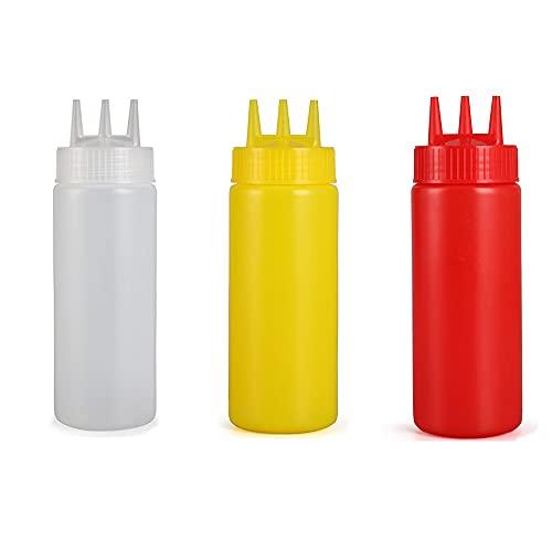 TENKY Paquete de 3 botellas de plástico para salsa, para salsa de tomate, aderezo de ensalada, mayonesa, salsa de barbacoa, 3 agujeros, 360 ml