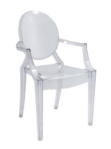 Sedia Design con braccioli in Policarbonato trasparente stile Vintage rivisitazione modello Luigi XVI - Sedie da pranzo, soggiorno, salotto, camera a PREZZO OUTLET