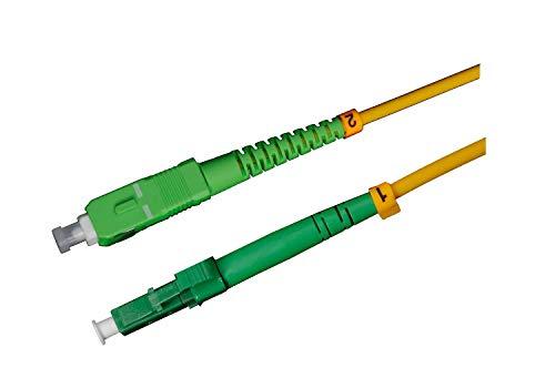 LWL Glasfaser-Kabel – 10m OS2 gelb, LC/APC auf SC/APC Stecker, Simplex 9/125 Patchkabel – Lichtwellenleiter 10 Meter G.652D