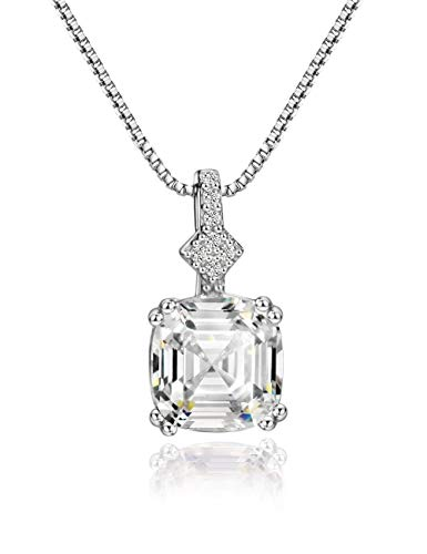 Mints 2ct Morganite Asscher Cut Pendant Necklace Sterling Silver Gemstone Fine Jewelry for Women White