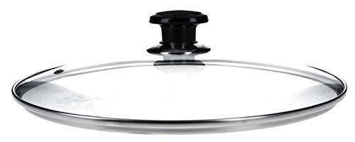 DL-pro Glasdeckel Ø280mm universal mit Knopfgriff und Edelstahlschutzrand Deckel für Töpfe Pfannen