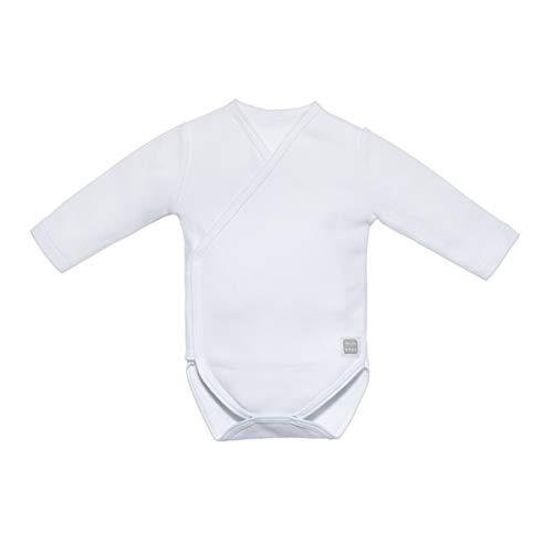 Minutus Body Manga Larga Bebé, Modelo Plain, 100% Algodón (Blanco, 0-1 mes)
