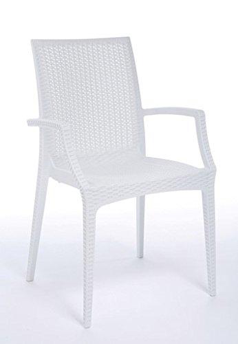 Verone Mobili Lote de 2 Sillas Mod. Sandy B con apoyabrazos- Color Blanco, realizado en tecnopolímero reciclable con Textura Mimbre.