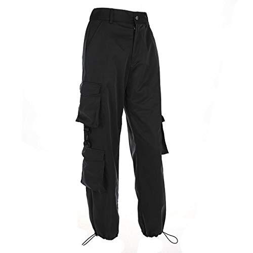 2020 Mode Femmes Taille Haute Patchwork Pantalon Noir Crayon Pantalon Streetwear Cargo Pants Lâche Jogger Pantalon De Mode Pantalon