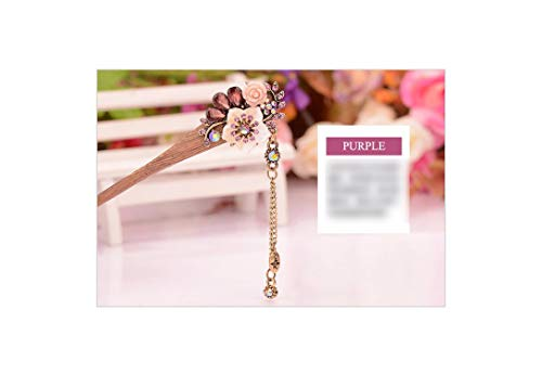 Flower Wooden Hairpin Sticks Crystal Rhinestone Hair Jewelry Chinese Bridal Wedding Hair Accessories,Purple