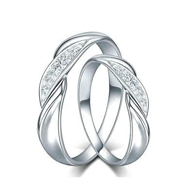 Bishilin Anillos de Oro Blanco 750 Alianza de Bodas de 18K, Stripe 0.2 Diamante Anillo de Compromiso de Boda Ajuste Cómodo Aniversario Cumpleaños Plata