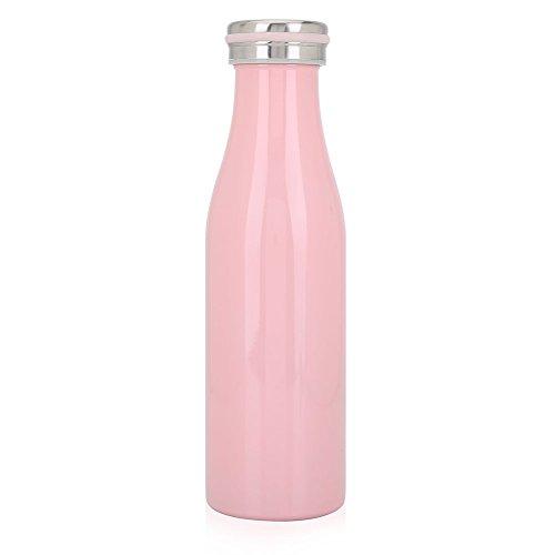 ohcoolstule Isolierte Wasserflasche, 2 Farben Edelstahl Isolierte Vakuum Sport Reise Outdoor Camping Radfahren Wasserflasche(500ML Pink)