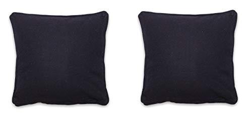 Homevibes Set de 2 Fundas de Cojín Liso de 50 x 50 cm, Juego de Fundas de Cojin con Ribete, Fundas de Cojin para Sofa Comedor Dormitorio, 4 Colores (Negro)