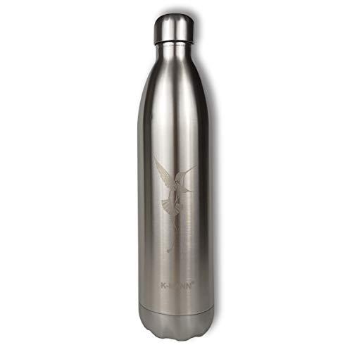 K-MANN ® – Botella isotérmica de acero inoxidable con diseño de pájaro de alto rendimiento – Marca francesa – Camping, trabajo (Bird 1L)