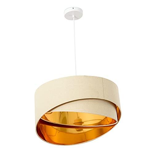 HOMCOM Lampadario a Sospensione con Altezza Regolabile, Illuminazione Moderna per Casa e Ufficio, Beige e Oro