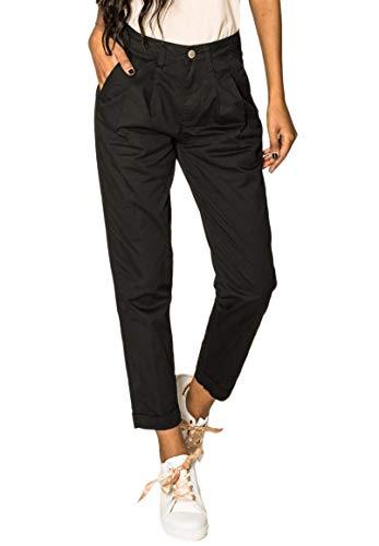 EGOMAXX Damen Chino Stoffhose High Waist Carotte Stretch Cropped weites Bein, Farben:Schwarz, Größe:S
