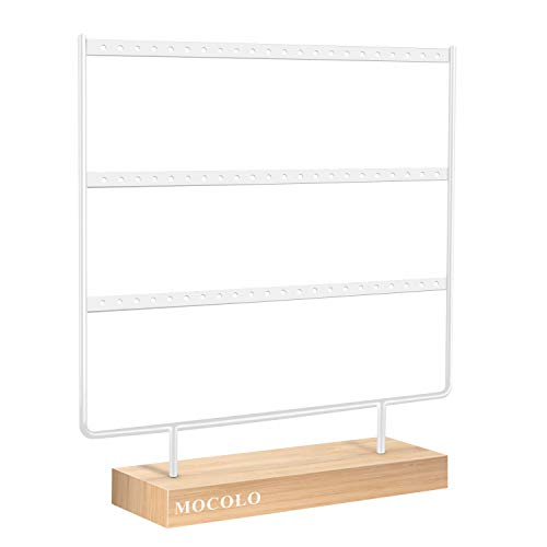 Mocolo Earring Organiser, Earring Display Stand, Earring Holder for Hanging Earrings (66 Holes & 3 Layers)