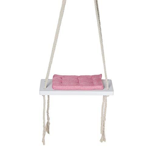 Zjcpow Silla colgante para niños con columpio de seguridad, silla mecedora de madera, con cojín para interiores y jardín (tamaño: tamaño libre; color: rosa)