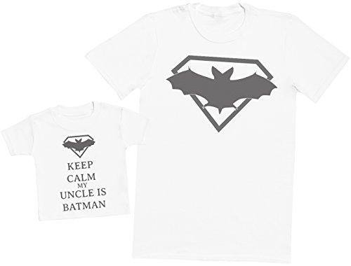 Keep Calm My Uncle is Batman - Ensemble Père Bébé Cadeau - Hommes T-Shirt & T-Shirt bébé - Blanc - Small & 1-2 Ans