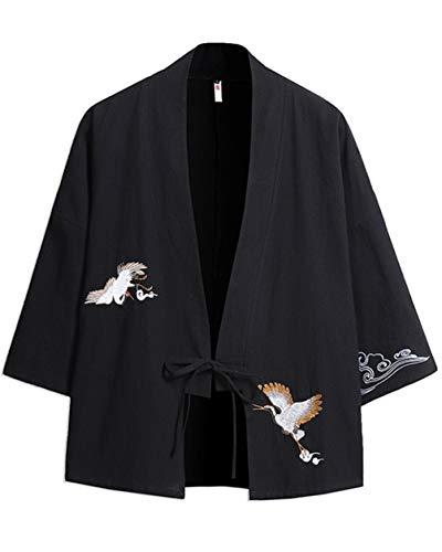 Kimono Estate da Uomo Sottile Cloak Apertura Frontale Ricamo Giacca Gioventù Casual Loose Cappotto Corto Nero 2XL