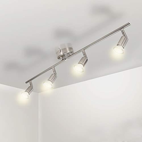 Wowatt LED Deckenleuchte Küche 4 Flammig Deckenstrahler LED Deckenleuchte Schwenkbar 4x 5W GU10 Spots Warmweiß Flur Küchenlampe 230V Deckenlampe Spotleuchte Metall Matt Nickel Verstellbar