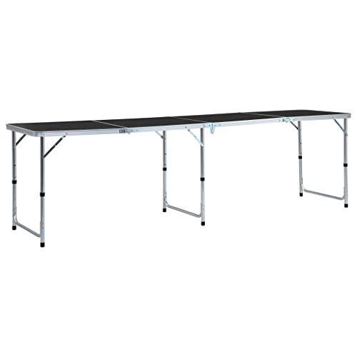 vidaXL Table Pliable de Camping Table de Jardin Table de Patio Table de Pique-Nique Table de Cuisine Table d'Extérieur Gris Aluminium 240x60 cm