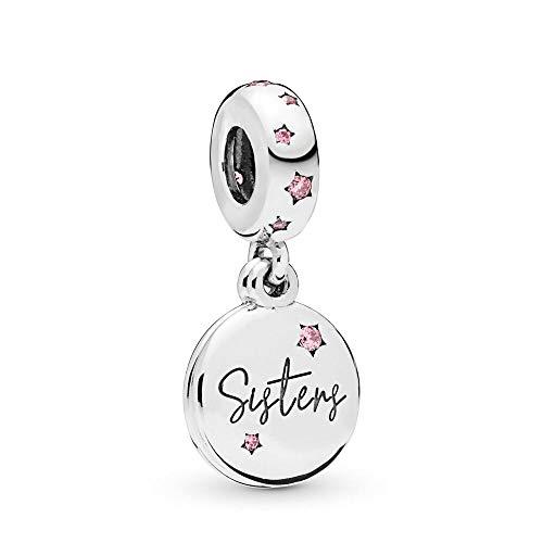 LILANG Pandora 925 Pulsera de joyería Natural se Adapta a los encantos de Plata esterlina para Siempre Hermanas cuelga Cuentas de Metal para niñas Mujeres Regalo DIY