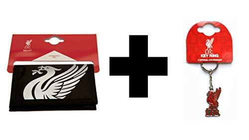 L.F.C Liverpool FC Zwart Nylon Portemonnee en metalen sleutelhanger Gift Set