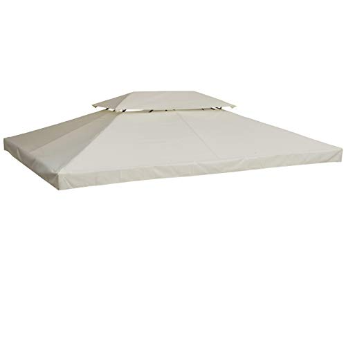 Outsunny 3 x 4m 2 Tier Gazebo Roof Top Replacement Canopy Pavilion Cover - Cream White(Without Frame)