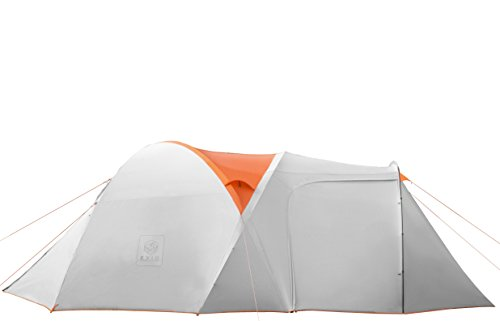 EXIO Gear 6 Person Tent: Compact for Backcountry, 20D Breathable Ripstop Nylon Tent and Rainfly with PU2000 Silicone Coating, and Aluminum Poles