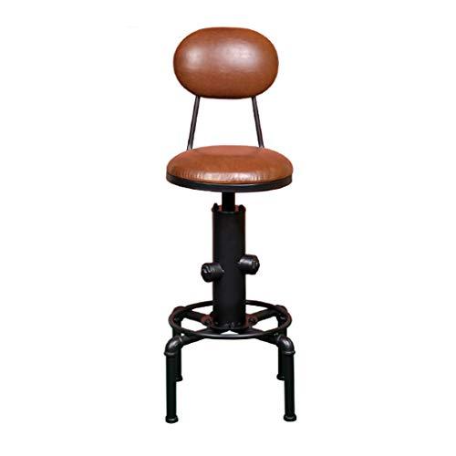 ☀ JBD Industrial Retro, Chaise de Bar en Fer, Peut soulever Un Tabouret Haut avec siège en Cuir pour Le comptoir de café