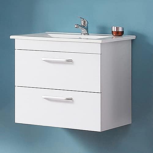 Acezanble 580x380x500mm Armario de baño Sujetado en Pared sin Pies con Dos cajones. 610x395x18mm Mueble de baño con Lavabo de Porcelana,Color Blanco.50x4x70cm Espejo LED 6000k antiniebla Incluido.