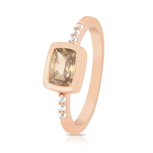 Gemshiner - Anillo para mujer, circonitas blancas y blancas, anillo de piedras preciosas, plata de ley 925, anillo chapado en oro rosa, cumpleaños, regalos de compromiso para niñas