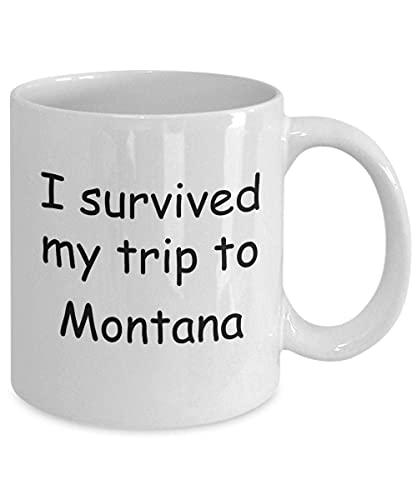 N\A Montana Mugs Souvenirs - sobreviví mi Viaje a Montana - Taza de café con Leche Taza de té de Regalo de 11 oz