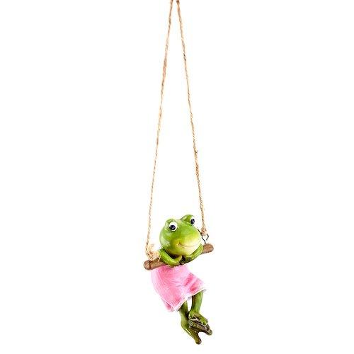 Deko Frosch auf Schaukel, Hänger Dekofigur Frosch, Froschfigur, Mädchen