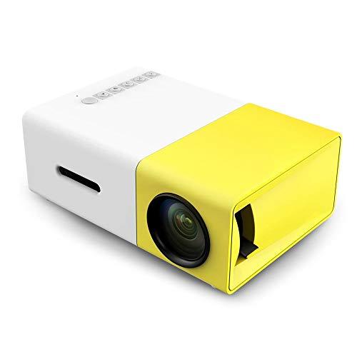 QINGTIAN Mini-Projektor,tragbarer Pico-LED-LCD-Videoprojektor YG300 mit HDMI-USB-AV-Schnittstellen und Fernbedienung für Heimkino-Videofilme,Kinder anwesend,Partyspiel