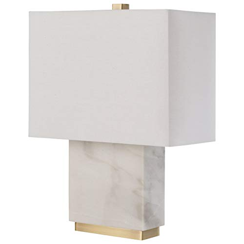 Amazon Brand – Rivet Mid-Century Modern Rectangle Living Room Table Lamp with LED Light Bulb, 17'H, White Marble and Brass